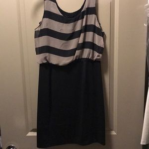 Grey and black striped cocktail/club dress